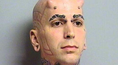 Devil horns on forehead