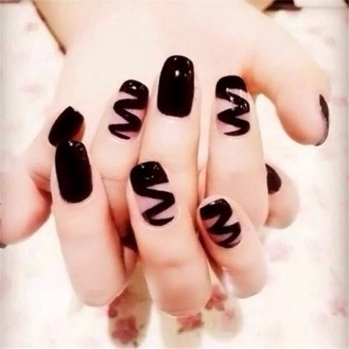 Punk Style Hippie Nail Black Wave Pattern