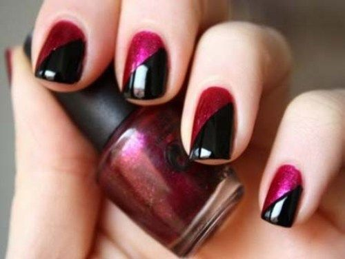 Two tone nail art - 50 Beautiful Nail Art Designs & Ideas – Body Art Guru