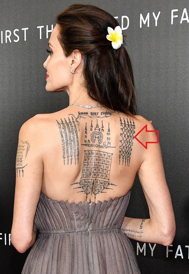 angelina jolie-Yant Kraw Petch (Diamond Armour) tattoo