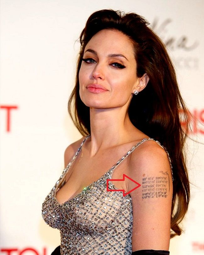 angelina jolie-geographical coordinates tattoo