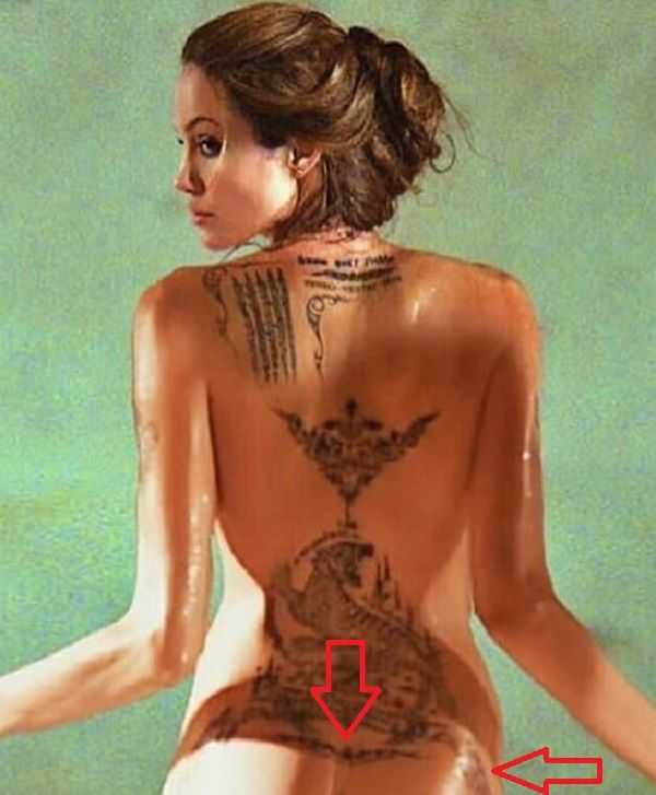 angelina jolie-tribal pattern tattoo