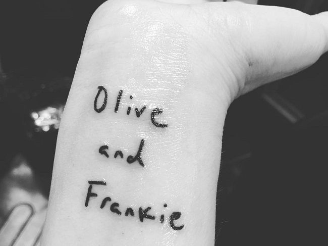 drew barrymore-olive and frankie tattoo