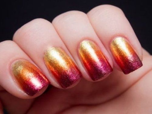 sunset nail art design