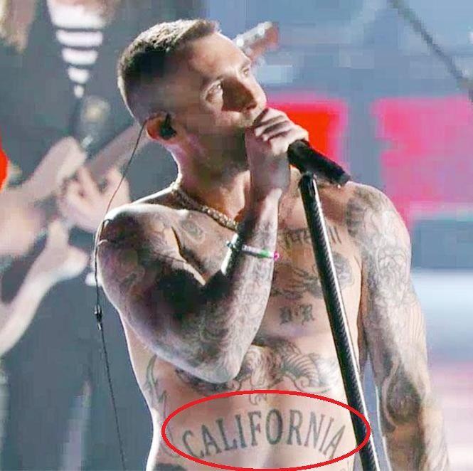 Adam Levine California Tattoo