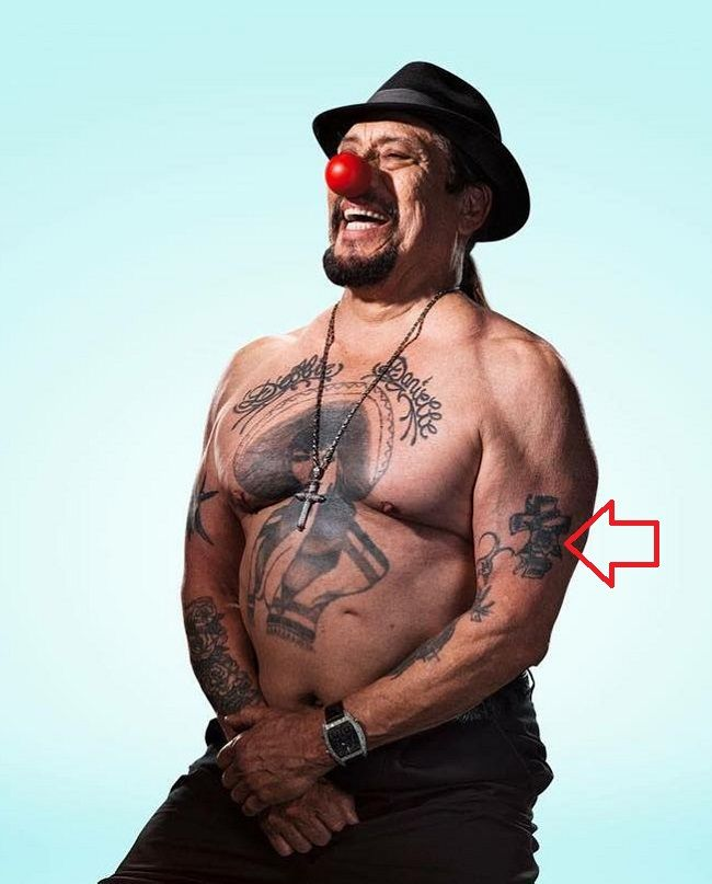 danny trejo-catholic cross tattoo