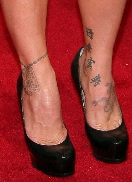 Pink- Feet Kanji Tattoo