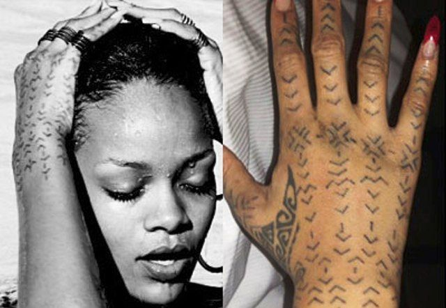 Rihanna tattoo chevron lines