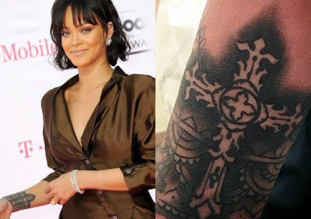 Rihanna tattoo cross