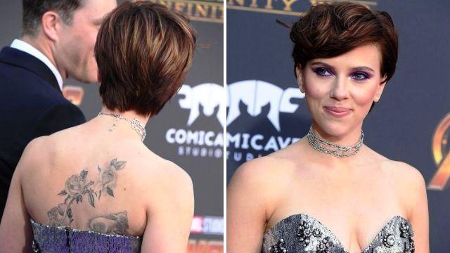 Scarlett Johansson Back Tattoo