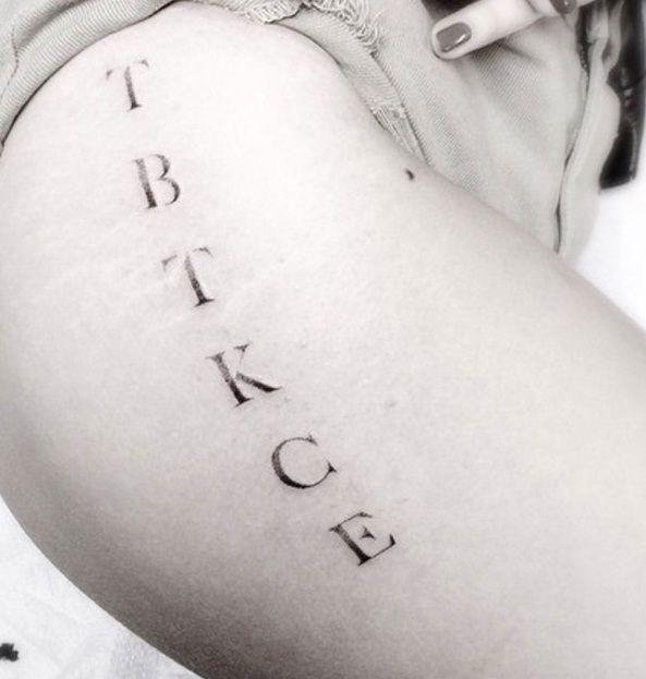 Chloe Moretz Family initials tattoo