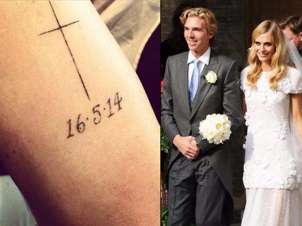 Poppy Delevingne - Wedding date tattoo