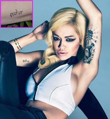 """Rita Ora - Sister's name in """"Hindi"""" tattoo"""