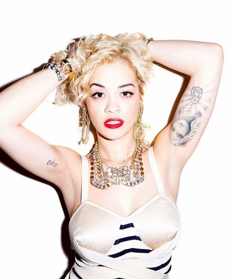 Rita Ora - Greek Goddess Arm Tattoos