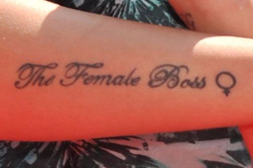 Tulisa Contostavlos - The female boss arm tattoo