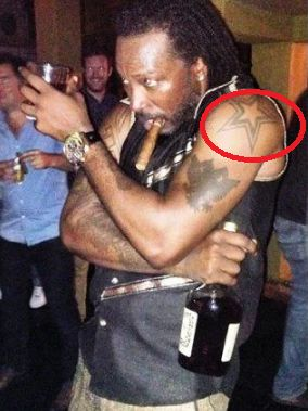 Star Tattoo of Chris Gayle on his left hand