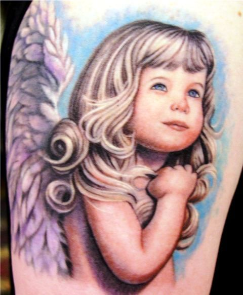 Angel Portrait Love Tattoo