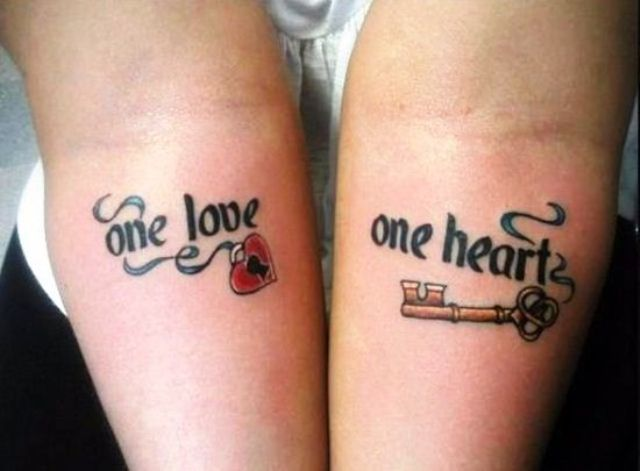 Key and Heart Lock Tattoo