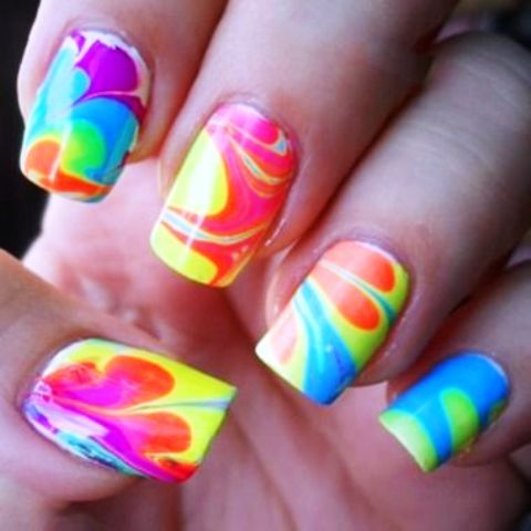 Neon Marbled Nail Art