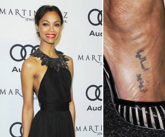 Zoe Saldana Arabic Tattoo