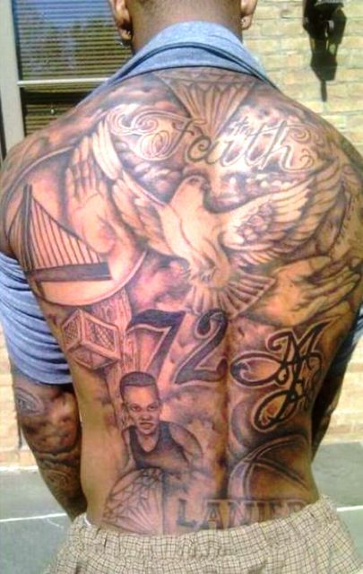 Monta Ellis Back Tattoo