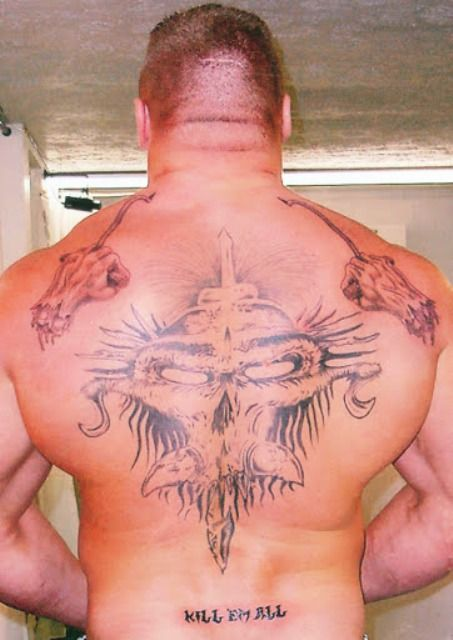 Brock Lesnar Demonic Skull Tattoo