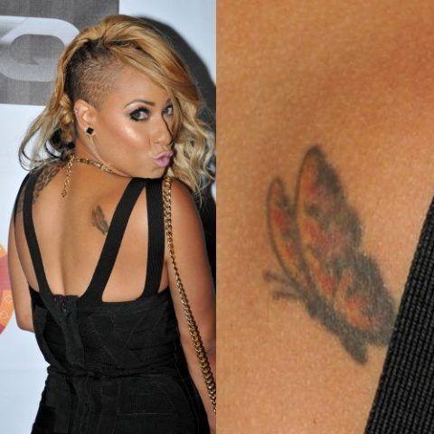 Hazel E Butterfly On Back Tattoo