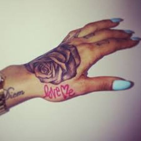 Karis Anderson Greyscale Rose And Love Me Tattoo