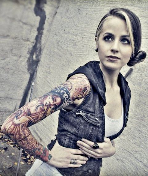 Carah Faye Charnow Full Arm Tattoo