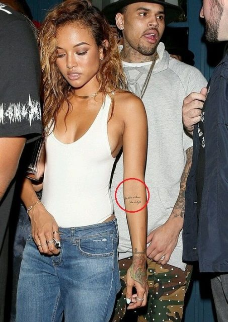 Karrueche Tran Writing On Forearm