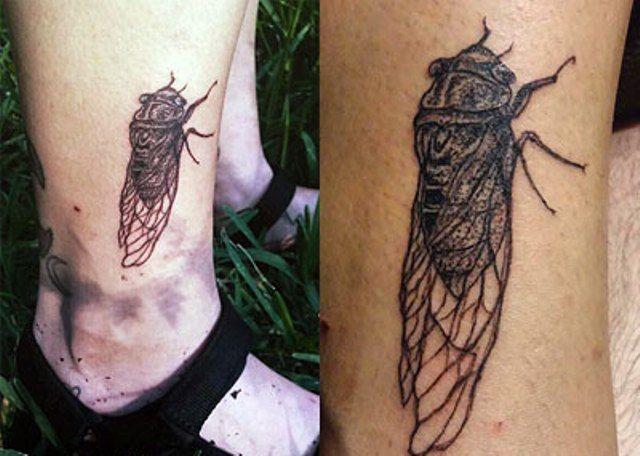 Sierra Kusterbeck Cicada Ankle Tattoo