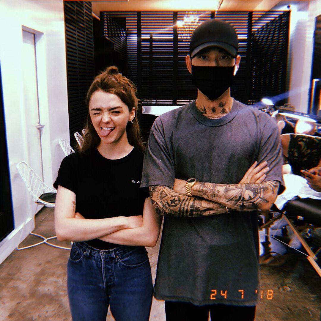 Maisie Williams, posing with Tattoo Artist Mr. K