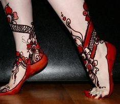 Red Colored Foot Mehendi Design.