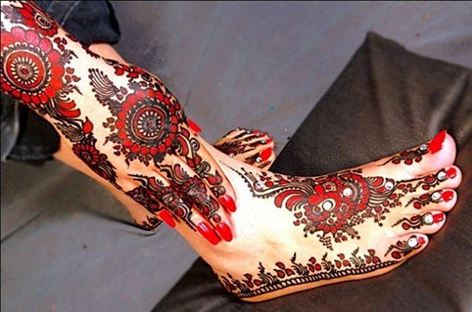 Red Colored Foot Mehendi Design