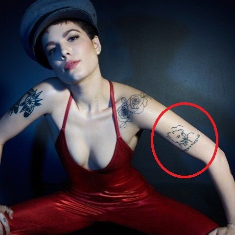 Halsey face with everything tattoo