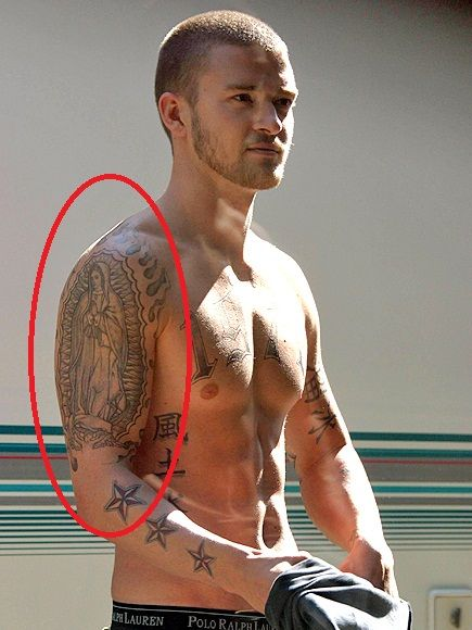 Justin Timberlake virgin mary tattoo