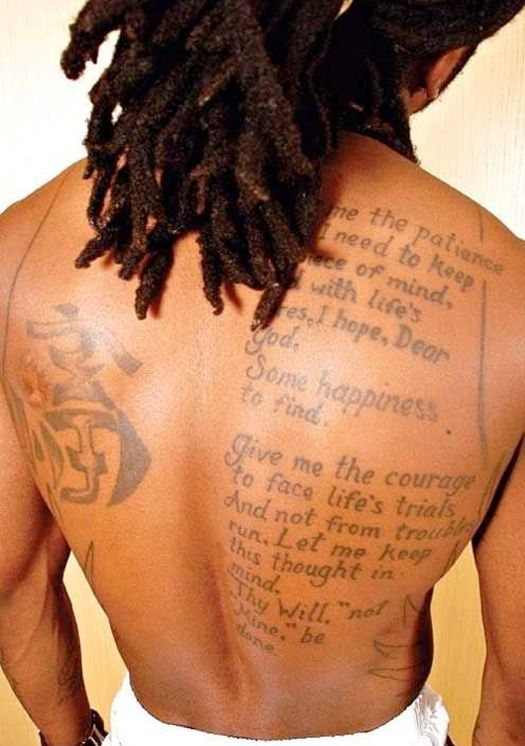 Lil Wayne prayer tattoo
