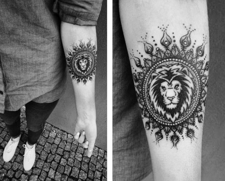 Round Shape Lion Tattoo