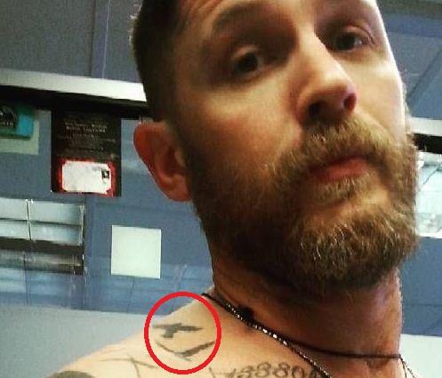 Tom Hardy Flying Birds Tattoo