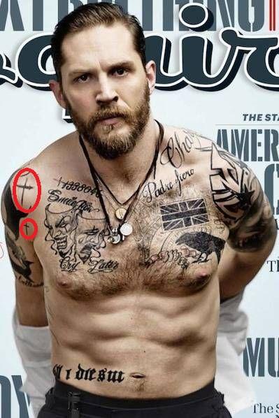 Tom Hardy Single Cross Tattoos