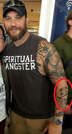 Tom Hardy Skull With a Hat Tattoo