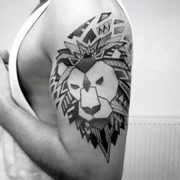 Tribal Geometric Lion Tattoo