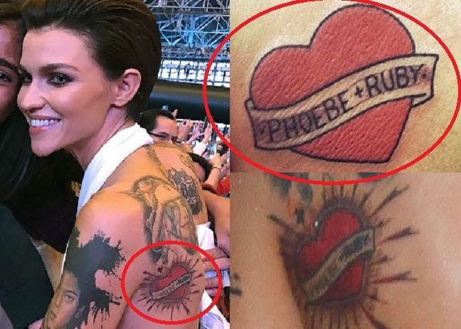 10f781ac31a84 Tattoo: Heart with a Banner Tattoo on the left side of her back. Meaning: Ruby  Rose ...