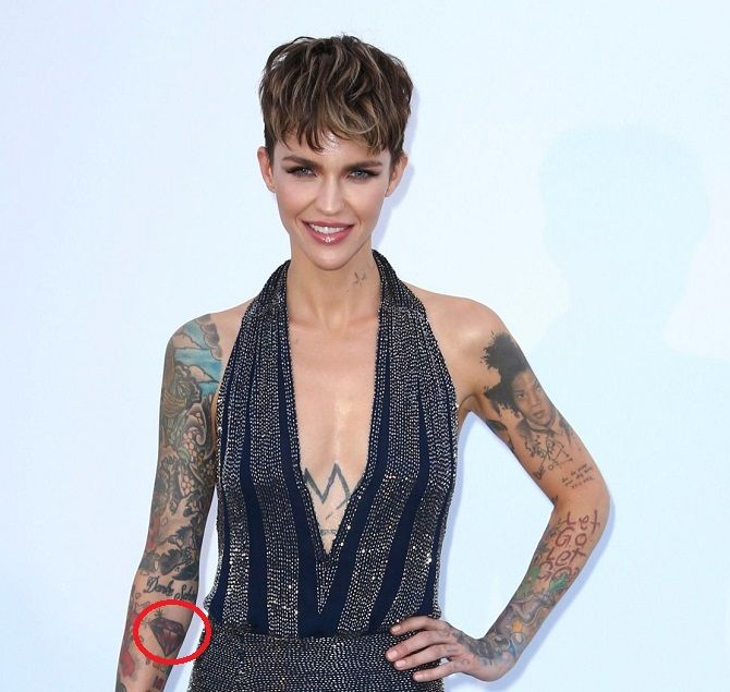21a5550fc0f20 Tattoo: A Ruby Stone has been inked by Ruby Rose on her right forearm.
