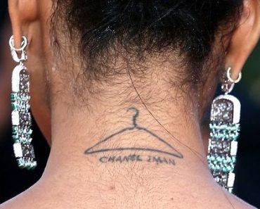 Chanel Iman Cloth hanger tattoo