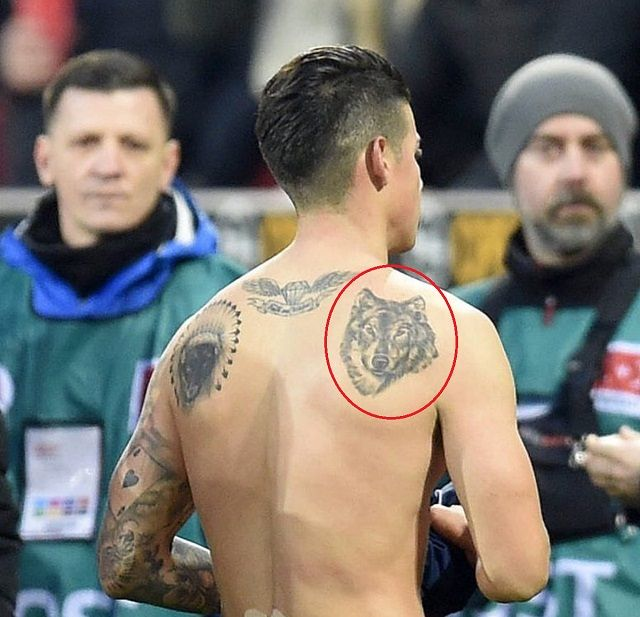 James Rodriguez wolf tattoo
