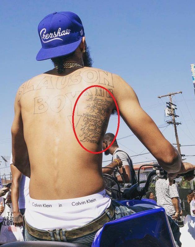 Nipsey Hussle - List of Names Tattoo