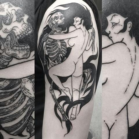 PewDie Pie- naked women kissing skeleton tattoo