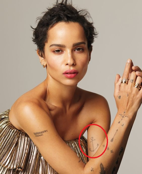 Zoe Kravitz anchor tattoo