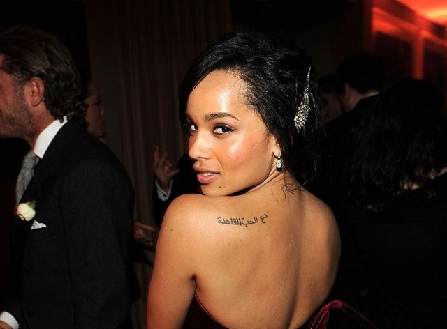 Zoe kravitz arabic script tattoo